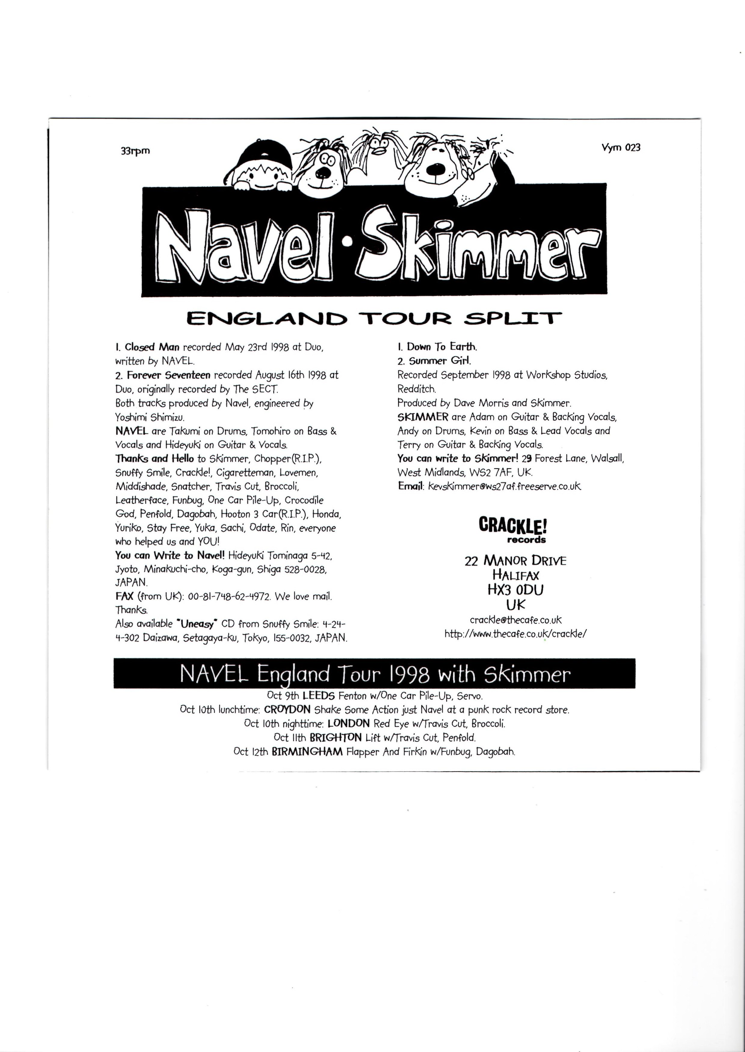 Navel SKimmer UK Tour Split - UK Version